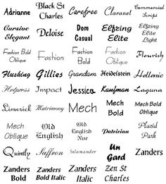 Tattoo Fonts: Heidelstein, Kaufman, Old English, Old English Nue, Zen St Charles, and Black St Charles