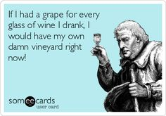 If I had a grape for every glass of wine I drank, I would have my own damn vineyard right now! Cheers!!