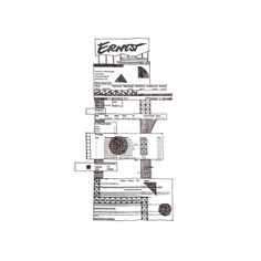 #Ernest #airlines #control #tower on a #boarding #pass /// #photocopied #architecture /// #drawing #illustration