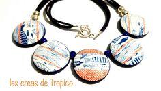 collier marin polymère avec des motif poisson et vague bleu blanc orange (fimo,premo,cernit) : Collier par les-creas-de-tropico