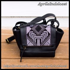 """❗️1-HOUR SALE❗️Mini Bag Shoulder Vegan Leather NEW WITH TAGS  T-Shirt & Jeans Boho Print Mini Shoulder Saddle Bag Vegan Leather  * Front boho design & top handle   * Magnetic snap flap closure w/zip top compartment, & adjustable shoulder strap (10-22"""" drop)  * Interior wall zip pocket & 2 media pockets  * Approx. 8"""" H x 11"""" W X 3""""D  * A semi firm structure bag Material:Canvas & PU Vegan Leather, polyester Color:Black Item:93500  No Trades ✅ Offers Considered*/Bundle Discounts✅ *Please use…"""