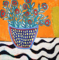 Flower pot in orange, 120x120, 2014.JPG