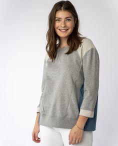 Trinity Sweatshirt in Grey Mix - PRELOVED Vintage Denim, Denim Shirt, V Neck, Pullover, Grey, Sweatshirts, Sleeves, Sweaters, How To Wear