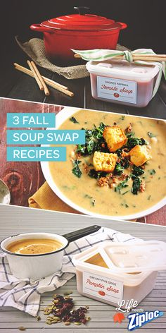 We love these fall soup recipes. Creamy Five Spice Pumpkin soup, Smoked Paprika Tomato soup, and Kale and Chorizo White Bean soup. So good! Free printable recipe cards and labels for Ziploc® containers, too.