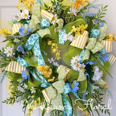 Blue and Yellow Spring and Summer Mesh Wreath  by WilliamsFloral on Etsy https://www.etsy.com/listing/227326198/blue-and-yellow-spring-and-summer-mesh