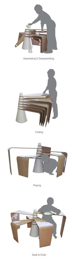 Family Multifunctional Furniture by Jin-Young Lee - interior design Small Office Furniture, Folding Furniture, Multifunctional Furniture, Smart Furniture, Modular Furniture, Space Saving Furniture, Design Furniture, Modern Furniture, Furniture Ideas