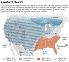 Historic range map of Canis species in North America