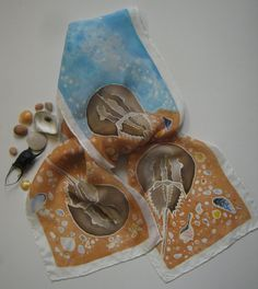 Hand Painted Silk Scarf Horseshoe Crabs on by NatureSeenSilks, etsy