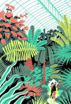 In the Green House / Vincent Mahe / Love / Dessin / Design / Illustration / Inspiration / Mood Art And Illustration, Illustration Design Graphique, Art Graphique, Vector Illustrations, Creative Illustration, Nature Illustrations, Pattern Illustration, Grafik Design, Art Design