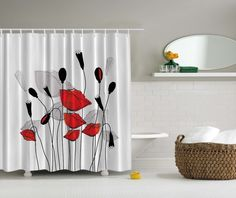 black and red shower curtain set. Elgant Floral Poppy Digital Print Shower Curtain Gray Red Flowers Bath  Decor eBay gray black and red shower curtain Google Search Bathroom Ideas