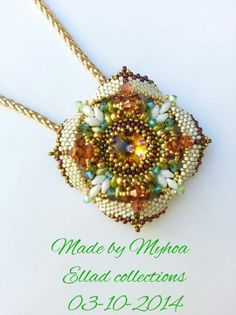 Wonderful colors! Eterno pendant beaded by Myhoa Vu. Thank you for sharing! Beading Tutorial for Pendant Eterno: In English: http://ellad2.com/ In Italian: http://ellad2.com/italiano In Dutch: http://ellad2.com/nl