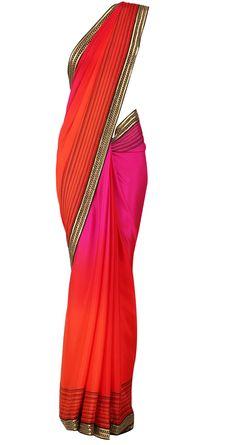 TISHA SAKSENA  Red & fuchsia sari with gota border  Product Code - AWPQ11TS Price - $ 509