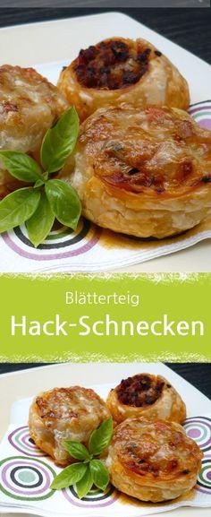 Rezept für leckere Hackfleisch-Schnecken im Blätterteig. #hackfleisch #blätterteig #fingerfood