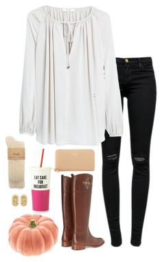 """""""this cup is on my Christmas list"""" by conleighh ❤ liked on Polyvore featuring J Brand, MANGO, Tory Burch, Kate Spade and Kendra Scott"""