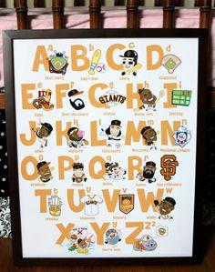 San Francisco Giants Themed ABCs (Nursery Decor) #sfgiants #abcs #nurserydecor