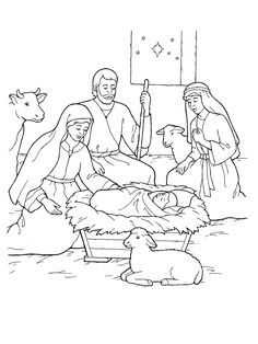 Printable Nativity Coloring Page to cut out and make your own ...