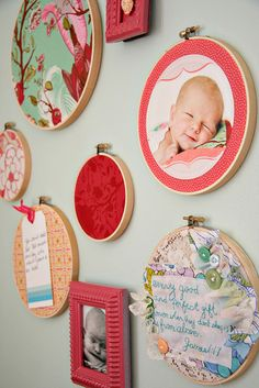 Embroidery hoops with coordinating fabrics to the nursery and fun stuff like pictures and notes on them. Cheap and ADORABLE
