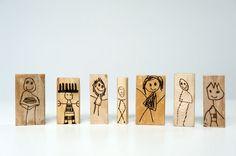 Wood Burned Doll Blocks