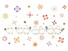 """Long Tailed Tit and Flowers"" −RiLi, picture book, illustration, design ___ ""しまえながたちとお花"" −リリ, 絵本, イラスト, デザイン ...... #bird  #longtailedtit #鳥 #シマエナガ"