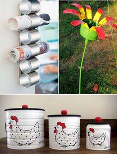 15 Ideas Diy para reciclar y decorar con latas de hojalata.   Mil Ideas de Decoración