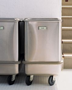 rolling food storage bins (found at restaurant supply stores) used as recycling containers.