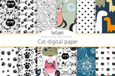 Cute Cat Digital Paper. Scrapbook Backgrounds, Kitty patterns for Commercial Use. pink and blue kittens, cats, pets paw prints By DreamCreatorBoutique