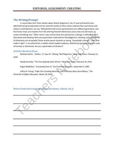 Editorial Assignment about Cheating from learn2 on TeachersNotebook.com -  (6 pages)  - Students collect information about cheating and use the information to support their opinions in an editorial writing piece.