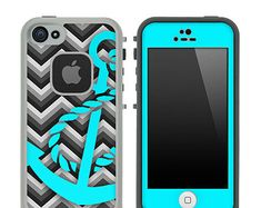 Teal LifeProof Case iPhone 4S | ... Stripe & Teal Anchor Skin for the iPhone 4/4s or 5 LifeProof Case