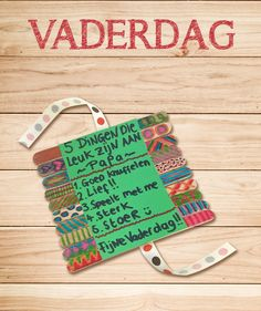 Leuk en snel gemaakt kado voor vaderdag. Little Presents, Dad Day, Diy Cards, Fathers Day, Crafts For Kids, Teaching, Activities, Christmas Ornaments, Gifts