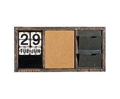 CALENDARIO DA PARETE in legno, ferro e sughero Robert - 100x50x7 cm