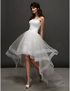 Ball Gown Strapless Asymmetrical Tulle Wedding Dress (244898... – USD $ 129.99
