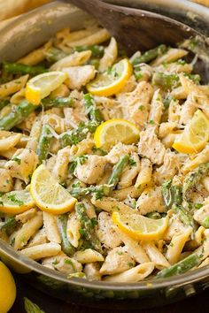 One-Pan Creamy Lemon Pasta with Chicken and Asparagus - Cooking Classy Lemon Chicken With Asparagus, Creamy Chicken Pasta, Creamy Lemon Chicken, Chicken Pasta Recipes, Chicken And Vegetables, Recipes With Asparagus, Healthy Pasta With Chicken, Vegetable Pasta Recipes, Butter Chicken