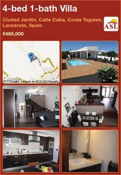 4-bed 1-bath Villa in Ciudad Jardin, Calle Cuba, Costa Teguise, Lanzarote, Spain ►€485,000 #PropertyForSaleInSpain