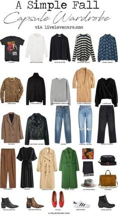 How to Build a Capsule Wardrobe for Fall - livelovesara : A simple Fall Capsule Wardrobe Capsule Outfits, Fall Capsule Wardrobe, Fashion Capsule, Fall Outfits, Fall Wardrobe Basics, Closet Basics, Simple Wardrobe, Travel Outfits, Work Wardrobe