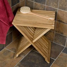 Folding Teak Shower Seat - Shower Seats - Bathroom Accessories - Bathroom