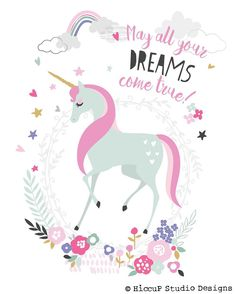 May all your dreams come true | Unicorn Fairy Illustration