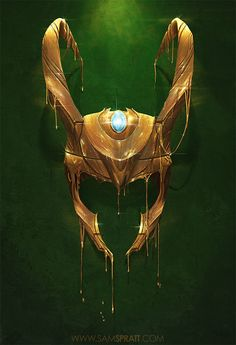 """fumettimarvel: justinrampage: As a follow up to artist Sam Spratt's amazing Gilded Iron Man illustration, he then slammed down his mad skills onto the shiny super villain Loki! Prints are available at Society6 and shirts can be picked up at RedBubble! Related Rampages: """"Gilded"""" - Illustration (More) """"Gilded II"""" - Illustration by Sam Spratt (Store) (Facebook) (Twitter) Via: samspratt ."""