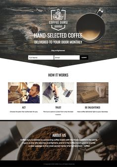Coffee Website Monthly Subscription One Page Layout Design using wood, black & white.