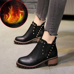 88afb692f157 Fashion Women Boots 2018 Winter Ankle Boots Autumn Warm Shoes Women s High  Heels Boots Women Botas Thick Heel Motorcycle Boots