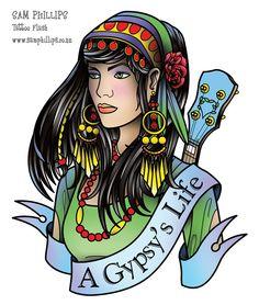 Gypsy Life Tattoo Design                                                                                                                                                     Más