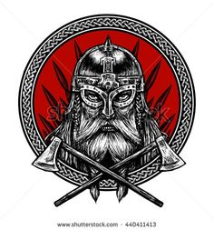Ancient viking head  in a ring with scandinavian ornament logo for mascot design. Graphic illustration. The ax , a sword , a spear