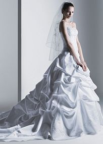 BEAUTIFUL!!! dream dress! Strapless satin ball gown with beaded embroidery, beaded bodice pickup. Cathedral train.