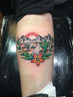 Cactus/ Arizona themed tattoo done by Old Timey Ridge in Tucson, Arizona.