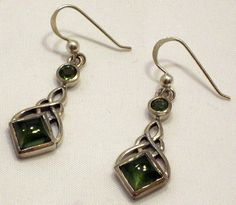 Faceted Polished Moldavite Tektite Sterling Silver Celtic Knot Dangle Earrings ($129.99) #Moldavite