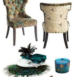 Superb Pier 1 Peacock Tufted Dining Chairs