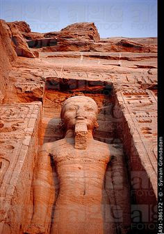 Statue of Ramesses II. Nefertari (Ramses II wife) Temple on Lake Nasser bank. Abu Simbel. Egypt