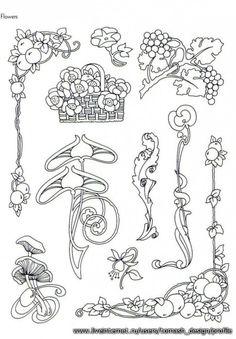 "Photo from album ""Art Nouveau Designs"" on Yandex.Disk - Photo from album ""Art Nouveau Designs"" on Yandex. Motifs Art Nouveau, Azulejos Art Nouveau, Design Art Nouveau, Motif Art Deco, Art Nouveau Pattern, Pattern Art, Flores Art Nouveau, Art Nouveau Flowers, Wassily Kandinsky"