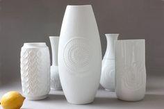 XL AK vase white vintage porcelain Germany 60s von wohnraumformer