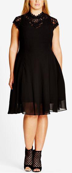 Plus Size High-Neck Illusion Fit & Flare Dress