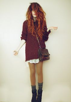 Lace under sweaterdress. And her hair omg I'd die to have her hair.